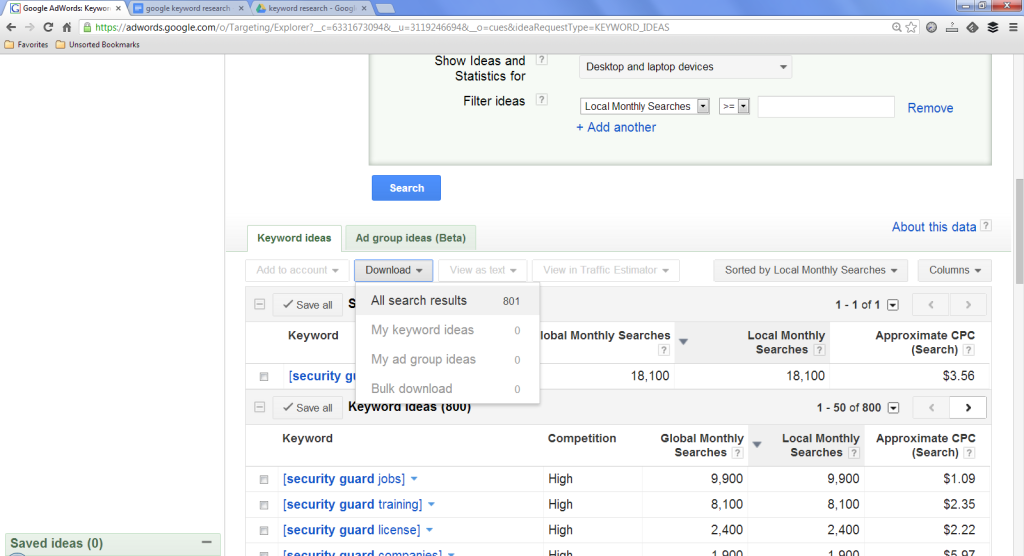 Search Adwords Keyword Tool