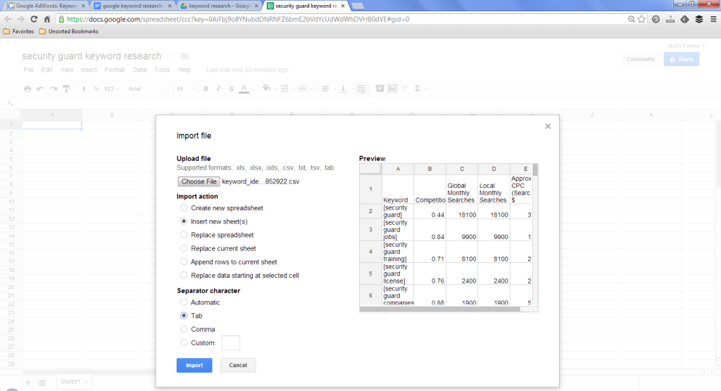Upload to Google Docs