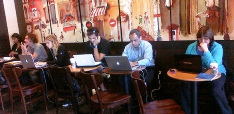 office coffee shop. working in a coffee shop office