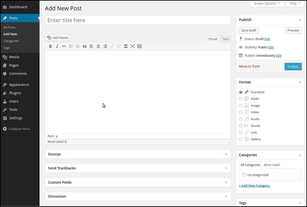 Start publishing content